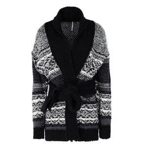 FREE PEOPLE Black Chunky Knit Cozy Cardigan Small